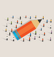 pencil concept of education crowd working together vector image vector image