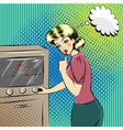 pop art of pretty housewife in vector image vector image