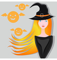 Portrait of red haired witch vector image