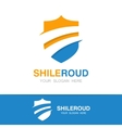 road and shield logo concept vector image