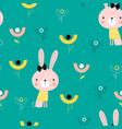 seamless bunny pattern vector image vector image