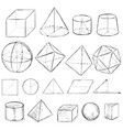 set dirty sketch geometric shapes vector image vector image