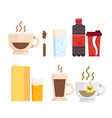 set icons various drinks proper nutrition vector image