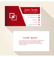 simple red and white business card design eps10 vector image vector image