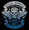 speed junkies motorcycle vintage design vector image vector image