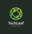 tech leaf logo design vector image vector image