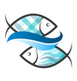 two fish and a blue wave vector image