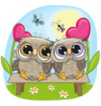 valentine card with owls on a bench vector image vector image