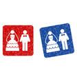 wedding couple grunge textured icon vector image vector image