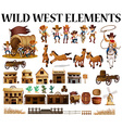 Wild west cowboys and buildings vector image