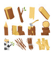wood industry raw material and production samples vector image vector image