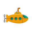 yellow submarine with periscope isolated on white vector image vector image