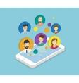 People communication via smartphone app vector image