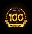 100 years anniversary celebration logotype golden vector image