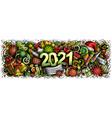 2021 cartoon cute doodles new year and coronavirus vector image