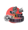 3d concept film production composition vector image