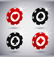 3d holdem classic casinos poker chips 4 suits in vector image