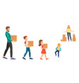a stickman family carrying vector image vector image
