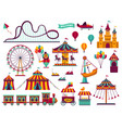 amusement park attractions set carnival amuse vector image