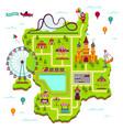amusement park map scheme elements attractions vector image