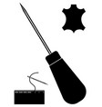 awl needle leather icon leather working tools vector image
