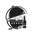bbq grill logo icon barbecue grilled meat vector image