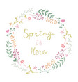 beautiful floral spring wreath on white vector image vector image