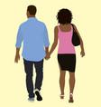 black couple walking away vector image vector image