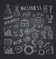 business doodle icons on black chalkboard vector image vector image