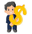 businessman holding dollar sign vector image