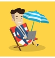 Businessman working with laptop on the beach vector image vector image