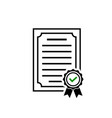 certificate icon rosette symbol and green check vector image vector image