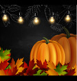 chalkboard with autumn leaves and pumpkins vector image vector image