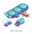 cryptocurrency mining concept 01 vector image vector image