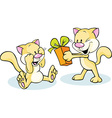 cute cat giving gift - funny on white background vector image vector image