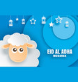 eid al adha mubarak celebration card with sheep vector image vector image