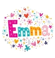 Emma female name decorative lettering type design vector image vector image