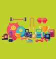 fitness equipment set colorful glossy gym workout vector image vector image