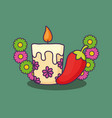 floral candle design vector image