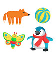 fox and butterfly toy set vector image vector image