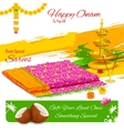 Gift of saree in Happy Onam vector image vector image