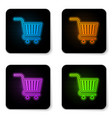 glowing neon shopping cart icon isolated on white vector image vector image