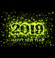 gold neon green typography happy new year 2019 in vector image vector image