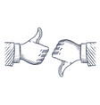 Hand drawn thumbs up and down like and unlike