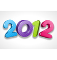 happy new year 2012 3d message sign vector image vector image