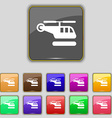 helicopter icon sign Set with eleven colored vector image vector image