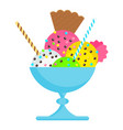 icecream on plate with sweet vector image vector image
