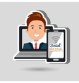 laptop user with social networking smartphone vector image vector image