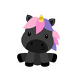 little black unicorn isolated on white background vector image vector image