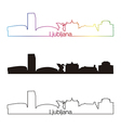 Ljubljana skyline linear style with rainbow vector image vector image